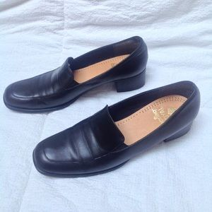 Munro | Black Square Toe Slip On Shoes